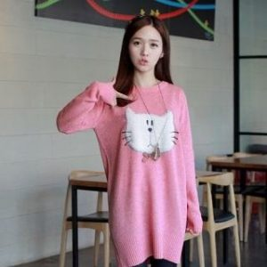 CLICK – Cat Appliqu Sweater Dress