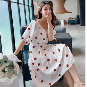 dowisi-strawberry-white-long-dress