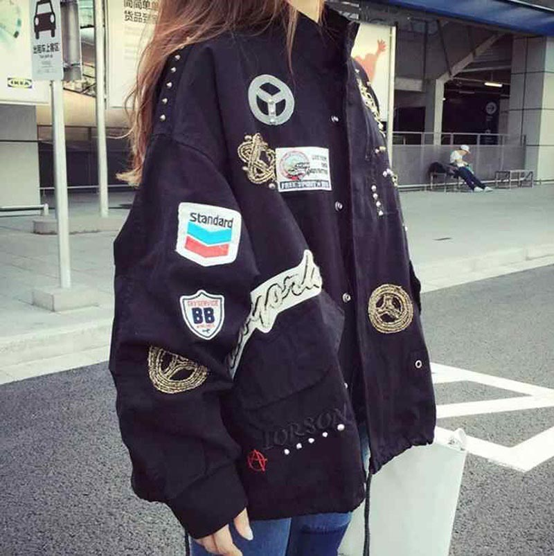 korean fashion jacket with badges
